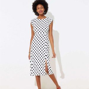 NWT Loft Polka Dot Cap Sleeve Midi Dress 4